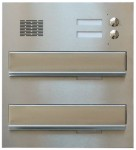 BMS25 DOUBLE mailbox with an audio door phone adapter and two pushbuttons, stainless steel
