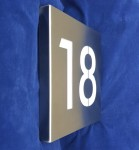 Surface-mount stainless steel house number sign